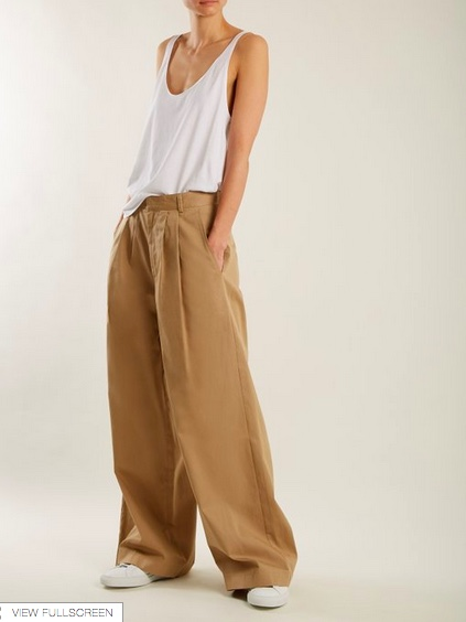 Raye wide-leg cotton chino trousers